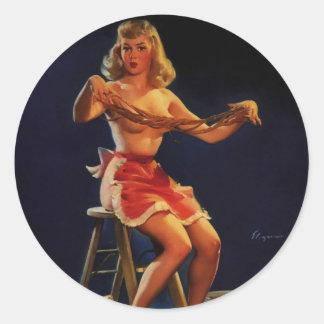 Vintage Retro Gil Elvgren Taffy maker Pinup girl Classic Round Sticker