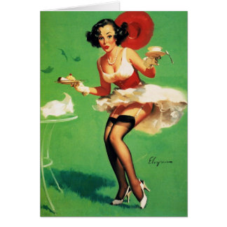Vintage Retro Gil Elvgren Tea Time Pinup Girl Card