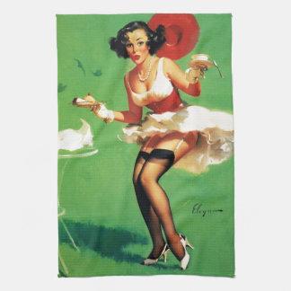 Vintage Retro Gil Elvgren Tea Time Pinup Girl Kitchen Towels