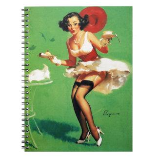 Vintage Retro Gil Elvgren Tea Time Pinup Girl Notebook