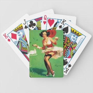 Vintage Retro Gil Elvgren Tea Time Pinup Girl Bicycle Playing Cards