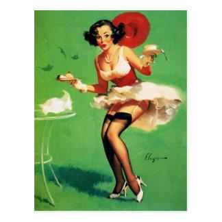 Vintage Retro Gil Elvgren Tea Time Pinup Girl Postcard