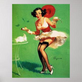 Vintage Retro Gil Elvgren Tea Time Pinup Girl Poster