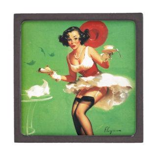 Vintage Retro Gil Elvgren Tea Time Pinup Girl Premium Trinket Box
