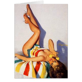 Vintage Retro Gil Elvgren telephone pin up Girl Card