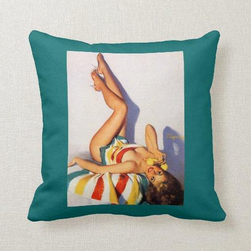 Vintage Retro Gil Elvgren telephone pin up Girl Pillows