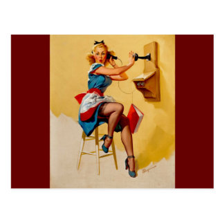 Vintage Retro Gil Elvgren telephone pin up Girl Postcard
