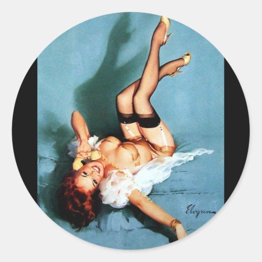 Vintage Retro Gil Elvgren Telephone Pinup girl Classic Round Sticker