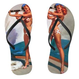 Vintage Retro Gil Elvgren Telephone Pinup girl Flip Flops