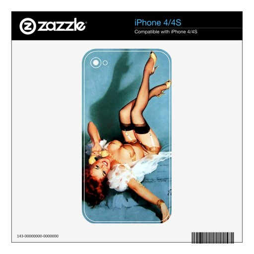 Vintage Retro Gil Elvgren Telephone Pinup girl iPhone 4 Decal