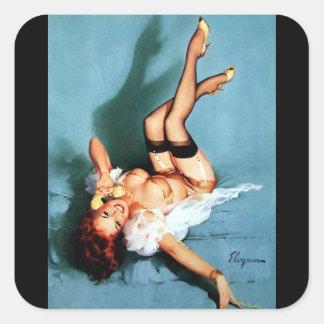 Vintage Retro Gil Elvgren Telephone Pinup girl Square Sticker