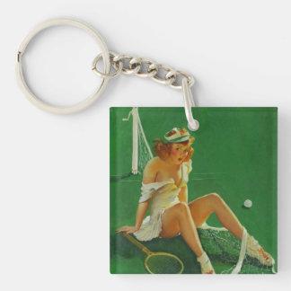 Vintage Retro Gil Elvgren Tennis Pinup Girl Keychain