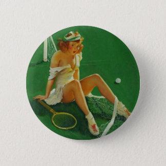 Vintage Retro Gil Elvgren Tennis Pinup Girl Pinback Button