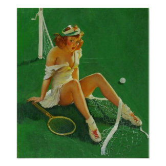 Vintage Retro Gil Elvgren Tennis Pinup Girl Poster