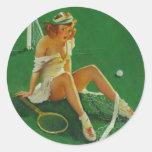 Vintage Retro Gil Elvgren Tennis Pinup Girl Round Sticker