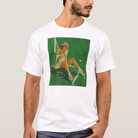 Vintage Retro Gil Elvgren Tennis Pinup Girl T-Shirt