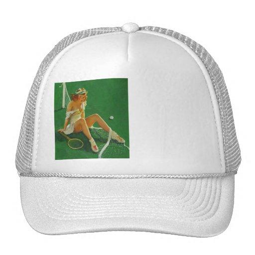 Vintage Retro Gil Elvgren Tennis Pinup Girl Trucker Hat