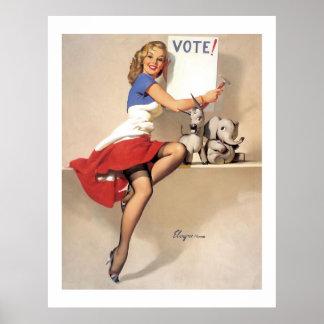 Vintage Retro Gil Elvgren Vote Campaign Pinup Girl Poster