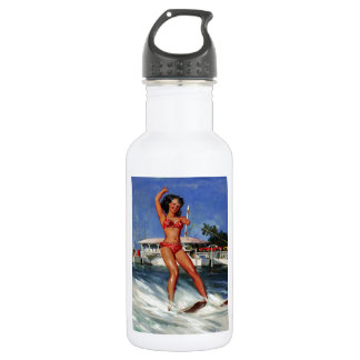 Vintage Retro Gil Elvgren Water Ski pinup girl 18oz Water Bottle