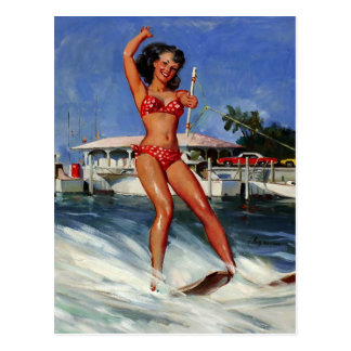 Vintage Retro Gil Elvgren Water Ski pinup girl Postcard