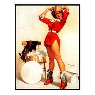 Vintage Retro Gil Elvgren Western Pin UP Girl Postcard