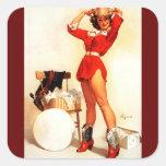 Vintage Retro Gil Elvgren Western Pin UP Girl Square Sticker