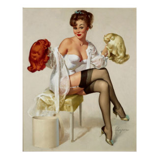 Vintage Retro Gil Elvgren Wig Pin up Girl Print