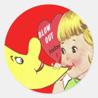 Vintage Retro Girl Blowing Balloon Valentine Card Sticker