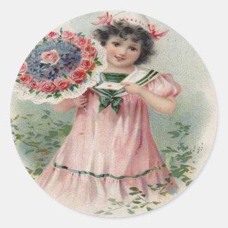 Vintage Retro Girl Bouquet Valentine Card Round Sticker