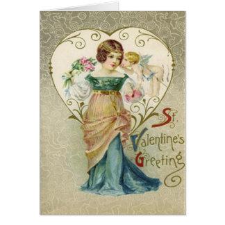 Vintage Retro Girl & Cupid Valentine Card