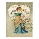 Vintage Retro Girl & Cupid Valentine Card Postcards