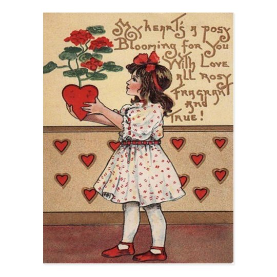 Vintage Retro Girl Heart Plant Valentine Card