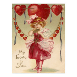 Vintage Retro Girl Hearts Arrows Valentine Card