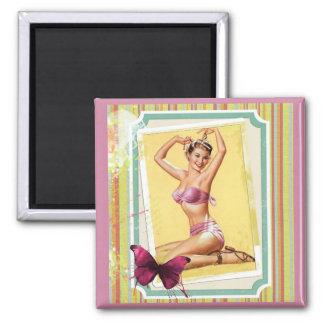 Vintage / Retro Girl in Pink Bikini. Magnet
