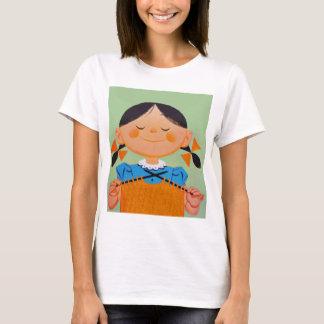 Vintage Retro Girl Knitting T-Shirt