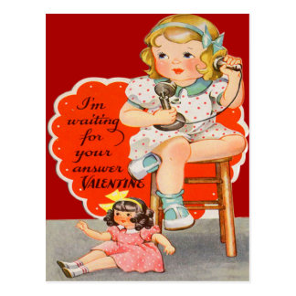 Vintage Retro Girl On Phone Valentine Card