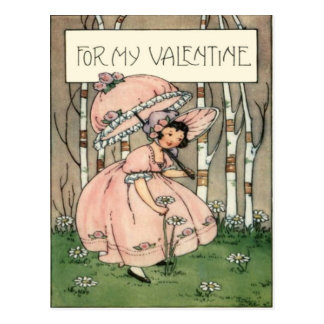 Vintage Retro Girl Picking Daisies Valentine Card