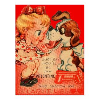 Vintage Retro Girl & Puppy Valentine Card Postcard