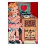 Vintage Retro Girl Record Player Valentine Card