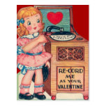 Vintage Retro Girl Record Player Valentine Card Postcard