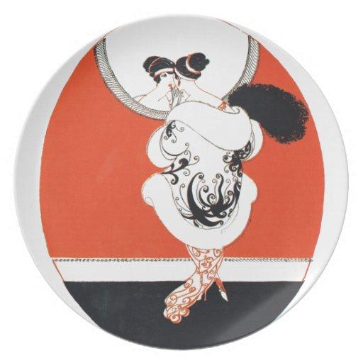 VIntage, retro girl with a mirror Plates
