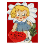 Vintage Retro Girl With Daisy Valentine Card