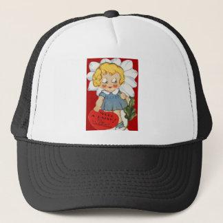 Vintage Retro Girl With Daisy Valentine Card Trucker Hat