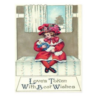 Vintage Retro Girl With Dool Valentine Card