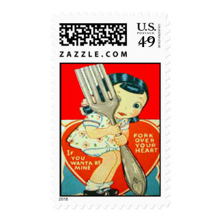 Vintage Retro Girl With Fork Valentine Card Stamps