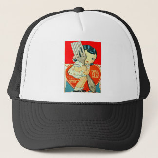Vintage Retro Girl With Fork Valentine Card Trucker Hat