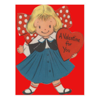 Vintage Retro Girl With Heart Valentine Card