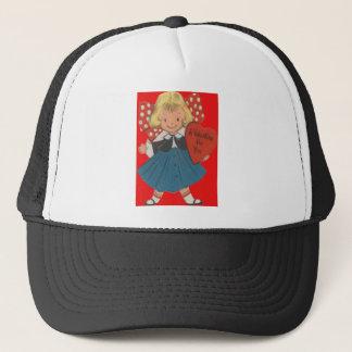 Vintage Retro Girl With Heart Valentine Card Trucker Hat