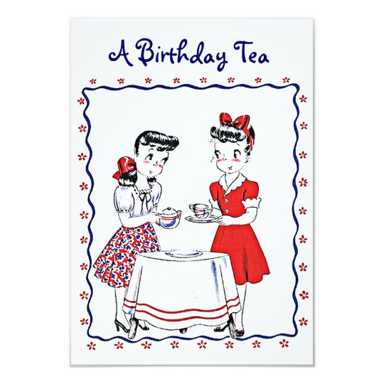 Vintage Retro Girls Hosting A Tea Party Invitation