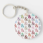 Vintage Retro Girly Floral Ampersand Pattern Single-Sided Round Acrylic Keychain